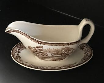 Royal Staffordshire Tonquin Pattern Gravy Boat with affixed Saucer
