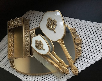 Vintage Gold 5 Piece Vanity / Dresser Set - Brush, Hand Mirror, Comb, Wall Mirror, Napkin Container - Floral - Made in the USA