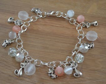 Bracelet silver beads and charms