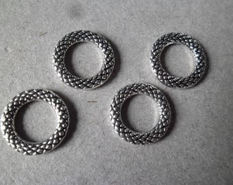x 5 rings/circles close pattern silver plated 14 mm