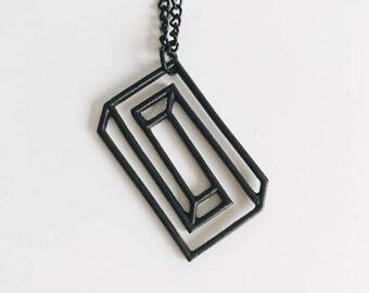 Black Geometric Maze Necklace / B