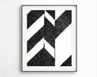Abstract Art, Black White Art, Modern Geometric, Simple Decor, Black White  Sketch