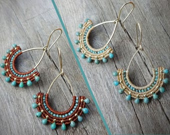 macrame earrings, Miyuki beads, 925 sterling silver 24K gold plated beads, gold plated earwires, brass drop