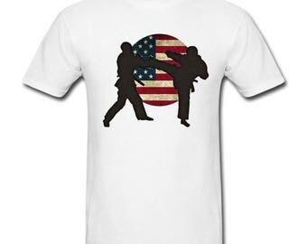 Karate, Mixed Martial Arts Shirt, USA Karate Gift, Flag, Mixed Martial Arts Gift, Martial Arts Gift, Custom Shirt, Mens Karate Gift, Karate