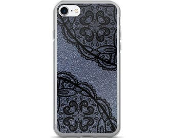 Retro Lace iPhone 7/7 Plus Case with silver background
