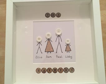 Button family framed picture