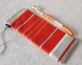 Case waterproof stripes orange for toothbrush and toothpaste for bag, briefcase or toiletry bag, waterproof lining