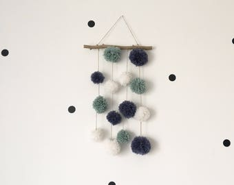 Mobile wall pompom, wall decor baby room