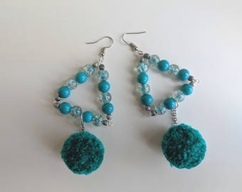 Teal Pom Pom Beaded Handmade Earrings Plastic transparent beads Pom-Pom Jewelry Lightweight Statement Gift for her Long Earrings Valentine's
