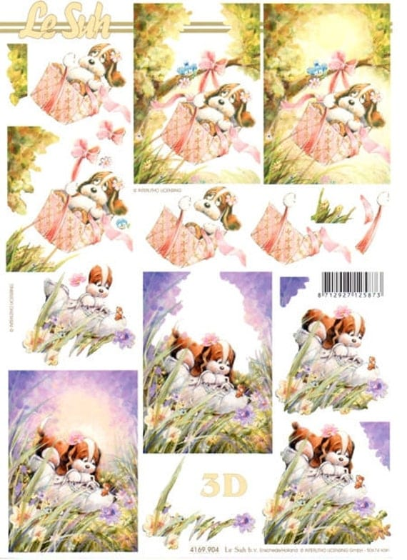 1 x sheet 3D Teddy bear swinging or playing with 1 shoe paper tole decoupage