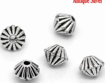PM25 - Set of 30 silver metal beads