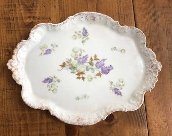 Limoges French Farmhouse Shabby Floral Lilacs Platter