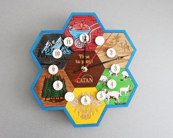 Settlers of Catan | Clock. Gift for gamer. Wooden Clock. Handmade. Custom, Wood, Laser Cut. Board Game Pieces. In stock.