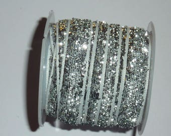 Sparkly, glitter Ribbon silver 10 mm wide 3 m long 00