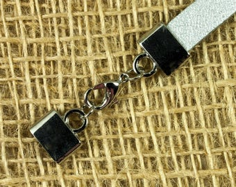 Leather clasp flat hole 8mm / 2mm with lobster clasp