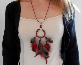 """Ruby"" Red""feathers necklace"