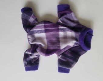 Soft Fleece Purple Plaid Pet Pajama (Dog Clothes) S