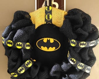 Handmade Fluffy Batman Wreath