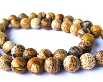 8 jaspes paysages de 8 mm perles pierre marron et beige.