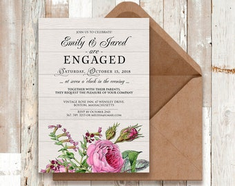 Roses Engagement Party Invitation Garden Spring Flowers Engagement Invite Printable Floral Invite Botanical Pink Flowers Rustic Wood Invite
