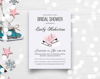 ICE SKATE Winter Bridal Shower Invitation Template - Ice Skating Christmas Bridal Shower Invitation Printable Invite Pink Ice Skates Invite