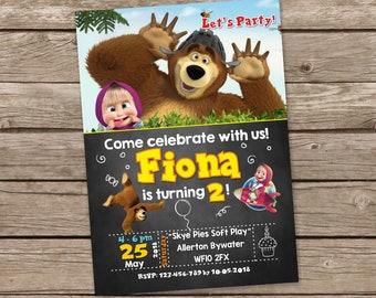 Masha Birthday Invitation, Masha and the Bear Birthday Invites, Masha and the Bear Party Invitation, Masha Thank you, Masha Birthday