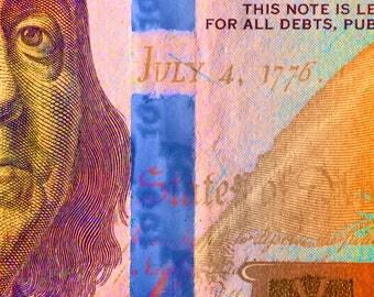 Modern contemporary artwork of Ben Franklin, Money Photography, Money art, Ben Franklin Print, Poster, Fine art, Digital Download