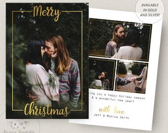Photo Christmas Card Template, Gold Christmas Card Template, Photoshop Christmas Card Template, Holiday Card Template, PSD Template, 5x7
