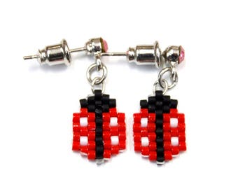 Dangle earrings Miyuki beads and rhinestone 20mm length
