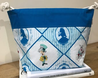 Alice in Wonderland knitting project bag, yarn project bag, gift for knitters, drawstring bag