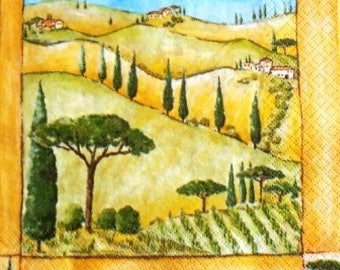 TOWEL in paper #DI004 hilly countryside landscape