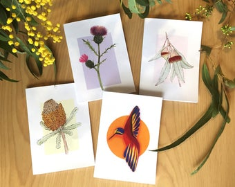 Six pack of watercolour illustration art print card. Australian native, blank greeting, birthday, thank you card.