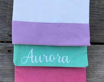 Custom Cosmetics bag - 8x6 in, Faux Suede, name or initial, bridesmaid gift, birthday gift, make up lover, purple, mint, pink, personalized