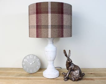 Balmoral Mulberry Tartan Tweed Check Drum Lampshade Country Lamp Shade 30cm