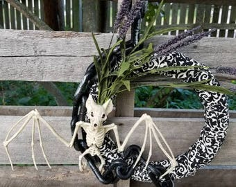 Halloween Bat skeleton wreath