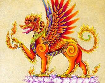 Singha Thai Temple Guardian Mythical Winged Lion Colorful Fantasy Creature Giclée Fine Art Print