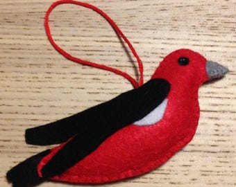 Felt Red Bird Scarlet Tanager Christmas Tree Decoration or Key Ring