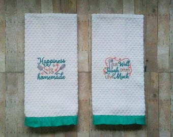 Beautiful Kitchen Hand Towels   Kitchen Towel Handmade   Hand Towels Set   Teal  Kitchen Decor
