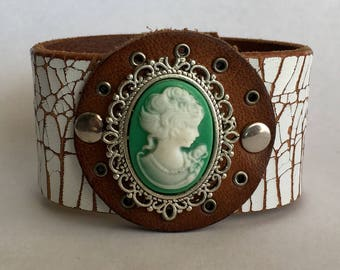 Vintage Cameo Leather Cuff
