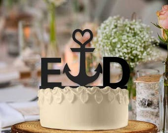 Anchor Monogram Heart Nautical Style Cake Topper