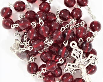 Deep Red Glass Rosary with Our Lady Undoer of Knots Center (#170813)