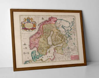 Old Map of Scandinavia; Denmark, Sweden, Norway | Antique and Historical Map of Scandinavian Countries; Oslo, Stockholm, Helsinki, Tallin