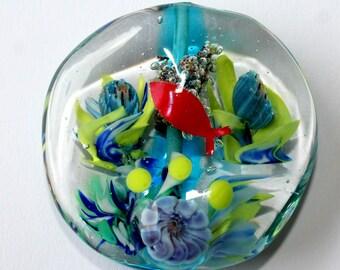 hand-turned lampwork glass bead - underwater - fish