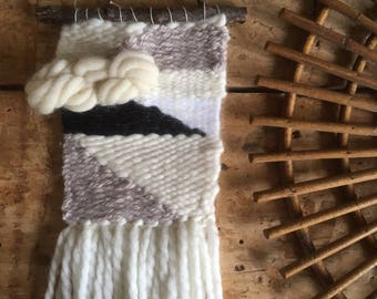 BlackSheep 1 hanger, weaving, tapestry, Bohemian spirit. Off white, black, gray tones. Pure wool, mohair, angora.
