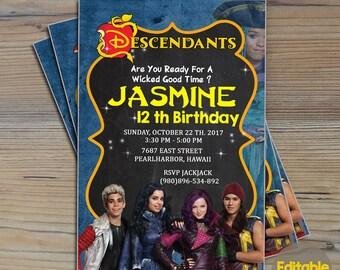 Instant Download-Descendants Invitation,Descendants Party,Descendants 2 Invitation, Descendants Printable,Descendants Invitation Download