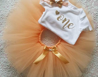Peach & Gold Tutu First Birthday Cake Smash Outfit
