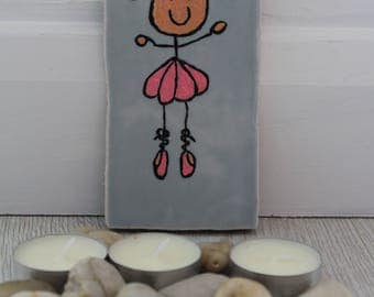 Decorative ceramic tile. Ballerina. Children's room.