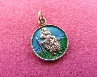 H) Vintage Sterling Silver Charm Enamelled St Christopher