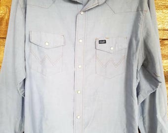 Vintage Wrangler Chambray Pearl Button Mens Large