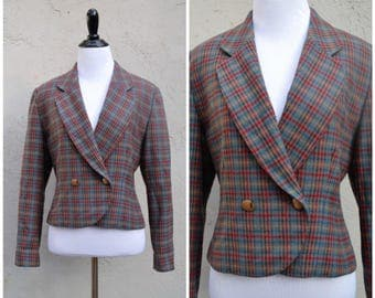 1960's Women's Pendleton Plaid Jacket, Plaid blazer, Pendleton, Wool blazer, 60's jacket, Petite, 100% virgin wool, Womens clothing